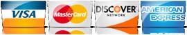 We Accept Visa, MC, Discover, Amex